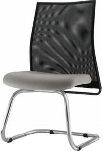Cadeira Liss Assento Courino Cinza Claro Base Fixa Cromada - 54667 - Sun House