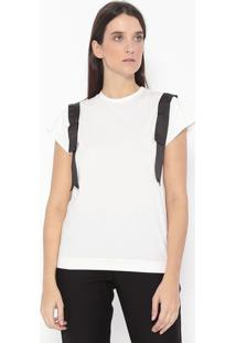 Camiseta Com Faixas & Recortes - Off White & Preta -Alexandre Herchcovitch