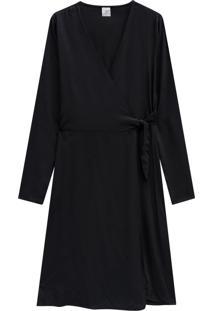 Vestido Lecimar Em Viscose Rayon Outono Inverno Manga Longa Preto 2 - Tricae