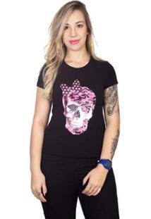 Camiseta 4 Ás Manga Curta Caveira Feminina - Feminino-Preto