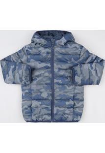 Jaqueta Puffer Infantil Estampada Camuflada Com Capuz E Bolsos Azul