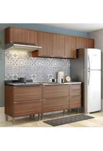 Cozinha Compacta Calábria 8 Portas 4 Gavetas Nogueira/Malt - Multimóveis