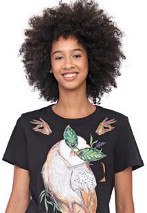 Camiseta Colcci Coruja Preta