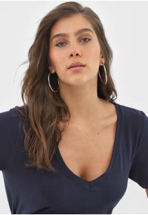 Camiseta Forum Gola V Azul-Marinho - Azul Marinho - Feminino - Algodã£O - Dafiti
