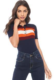 73e52e71e3ee0 Camisa Polo Calvin Klein Jeans Listrada Azul Laranja