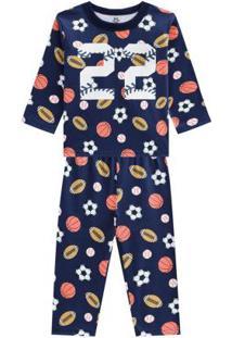 Pijama Menino Em Malha Brilha No Escuro Azul