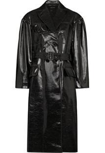 Simone Rocha Trench Coat Com Efeito Metalizado - Preto