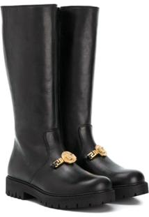 Young Versace Ankle Boot De Couro - Preto