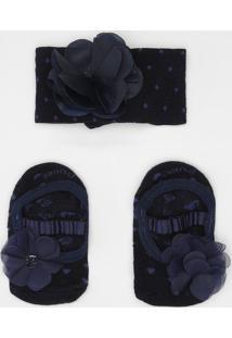f58b2822e06492 Kit De Pares De Meias Sapatilha Floral + Faixa- Azul Marpuket