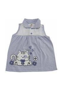Vestido Para Bebê Happy Baby Lilás De Bolinhas Gatinha Estampada 100 % Algodão