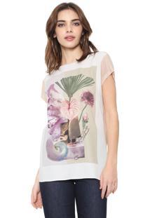 Camiseta Carmim Ametista Bege/Branco