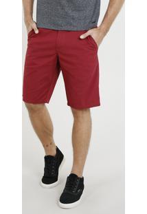 Bermuda Masculina Reta Estampada Mini Print Com Bolsos Vermelha