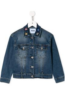 Msgm Kids Jaqueta Jeans Com Aplicação De Estrela - Azul