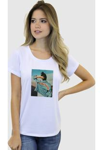 Camiseta Baby Look Feminina Basica Suffix Branca Estampa Tecido Sobreposto Jaqueta Jeans Strass Gola Redonda - Tricae