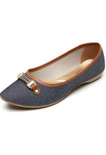 Sapatilha Fiveblu Jeans Enfeite Azul-Marinho