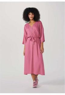 Vestido Chemise Midi Alongado Rosa