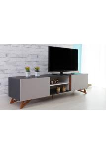 Rack Para Tv Preto Moderno Vintage Retrô Com 2 Portas Cinza Freddie - 180X43,6X48,5 Cm