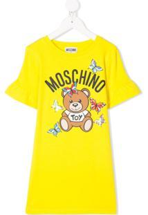 Moschino Kids Vestido Com Estampa De Logo De Borboleta - Amarelo