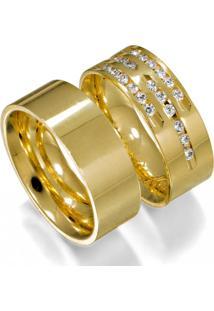 Aliança De Ouro Casamento Lisa Com Diamantes - As0736 + As0546 Casa Das Alianças