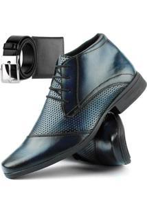 Bota Social Dhl Calçados Com Cadarço Masculina + Cinto E Carteira - Masculino-Azul