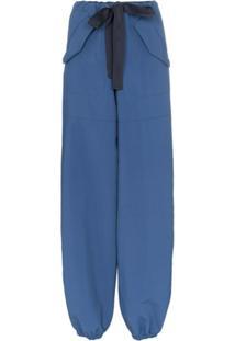Moncler Calça Esportiva Com Ajuste Por Cordão - Azul
