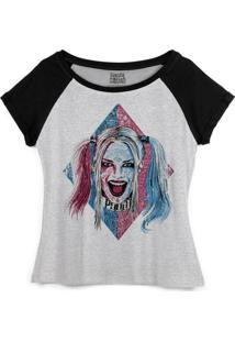 Camiseta Dc Comics Bandup! Raglan Esquadrão Suicida Harley Quinn Puddin - Feminino