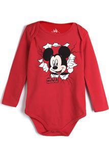 Body Marlan Baby Infantil Mickey Vermelho