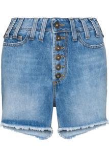 Faith Connexion Short Jeans Cintura Alta Com Efeito Destroyed - Azul
