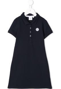 Boss Kids Vestido Polo Com Logo Bordado - Azul