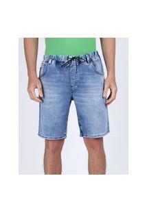 Bermuda Jeans Masculina Em Moletom Relaxed Com Bolsos Azul Médio