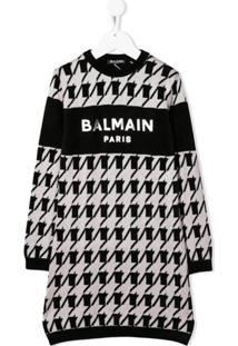 Balmain Kids Vestido Pied-De-Poule Com Estampa De Logo - Preto