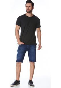 Bermuda Jeans Zait Tradicional Conrado Azul Marinho