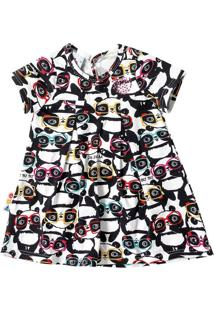 Vestido Evasê Estampado Pandas Infantil Zig Zig Zaa Preto - P