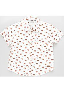Camisa Infantil Estampada De Raposa Manga Curta Off White