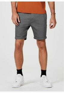 Bermuda Sarja Masculina Slim Com Amarração - Masculino-Cinza