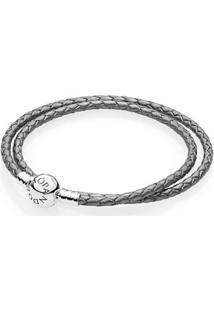Bracelete De Couro Roxo Com O Fecho Redondo - 41 Cm