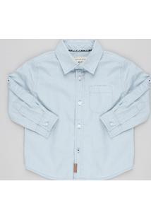 Camisa Infantil Estampada De Poá Manga Longa Com Bolso Azul Claro