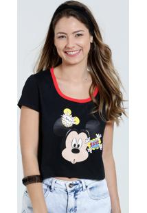 Blusa Feminina Cropped Estampa Mickey Disney