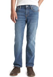 Calã§A Jeans Gap Reta Estonada Fantastiflex Azul - Azul - Menino - Dafiti