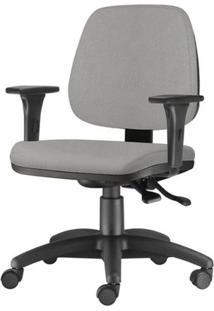 Cadeira Job Com Bracos Assento Courino Cinza Claro Base Nylon Arcada - 54610 - Sun House