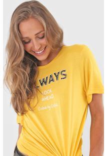Camiseta Colcci Always Amarela - Amarelo - Feminino - Viscose - Dafiti