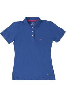 3351690783 Camisa Polo Gola Wrangler Feminina - Feminino-Azul