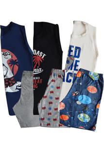 Kit 3 Pijamas Regata Juvenil Sortido Menino
