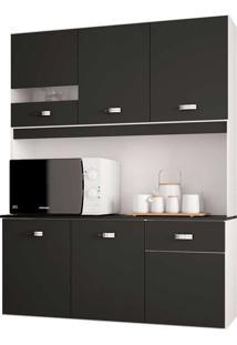 Cozinha Compacta Suspensa 6 Portas E 1 Gaveta Lili - Poquema - Preto