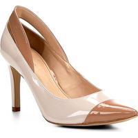 c60f37d09 Scarpin Shoestock Salto Alto Detalhes Verniz - Feminino-Off White