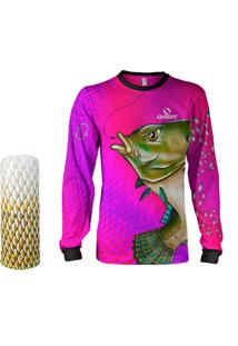 Camisa + Máscara Pesca Quisty Tilápia Bocuda Rosa Proteção Uv Dryfit Infantil/Adulto - Camiseta De Pesca Quisty