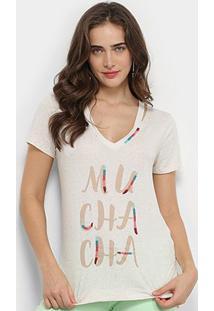 Camiseta Lez Lez Malha Linen Streech Feminina - Feminino-Branco+Grafite