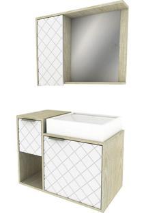Conjunto De Gabinete Para Banheiro Com Cuba E Espelheira Roma-Arteban. - Bege