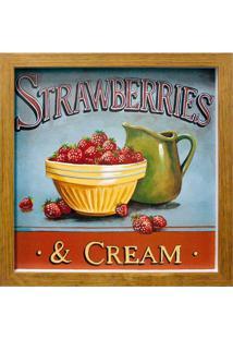 Quadro Caixa Strawberries Natural 33X33 Cm Kapos