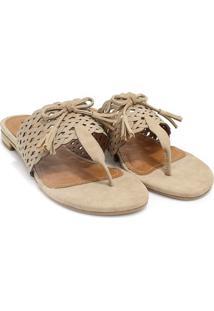 Rasteira Zariff Shoes Laço Bege
